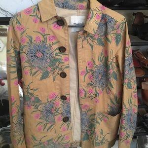 NWOT yellow floral denim madewell jacket